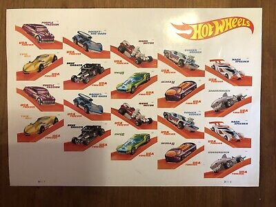 50th Anniversary USPS New Hot Wheels Pane of 20 Classic Stamps! Rad!