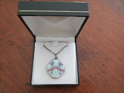 Antique European Silver and Enamel Octagonal Locket Roses and Bows