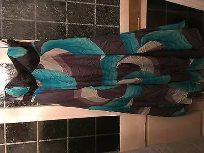 64#- Stunning Monsoon Teal Blue & Grey Silk Mix Strapless Long Party Dress Sz 16