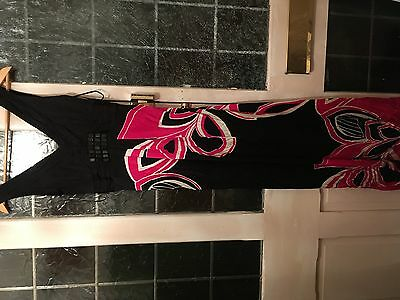 66#- Stunning Monsoon Black & Cerise /Hot Pink Long Dress With Gem Stones Size 8