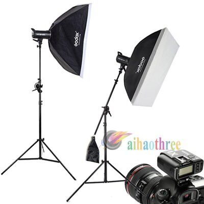 2Pcs Godox SK300II 300W 2.4G Wireless Flash Head + Softbox + X1T Trigger + Stand