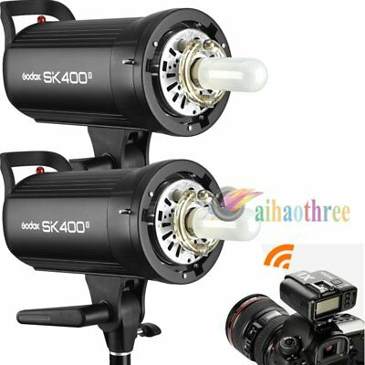 2Pcs Godox SK400II 400W 2.4G Wireless X System Flash Strobe Light + X1T Trigger