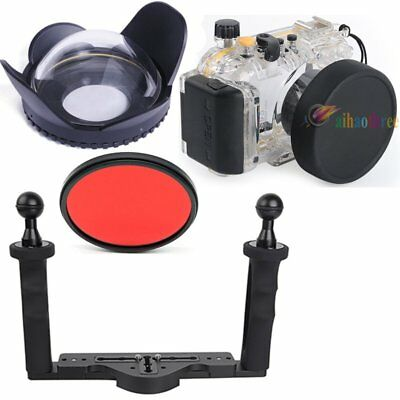 Meikon 40m/130ft Diving Housing Case Fisheye Wide Angle Tray Fr Canon S95 Camera