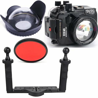 Meikon 40m/130ft Diving Case Fisheye Wide Angle Tray Fr Canon EOS M3 22mm Camera