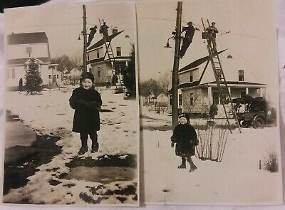 2 Vintage Old 1929 Photos of Men Utility Telephone Line Workers on Ladder Pole