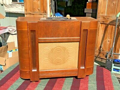 Zenith slim chairside tube radio model 6S546 6-S-546 console working