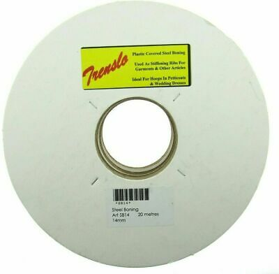 White Plastic Covered Steel Boning, 10mm 12mm or 14mm - 20 Meter Roll