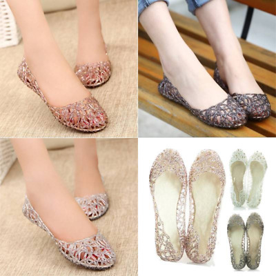 Womens Summer Beach Sandals Ladies Casual Slip On Jelly Flat Ballet Pumps Shoes