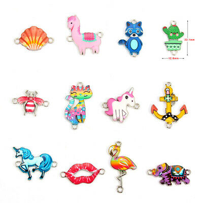 10X Enamel Anchor Elephant Connector Charm Beads Fit DIY Adult Kid Jewelry Gift