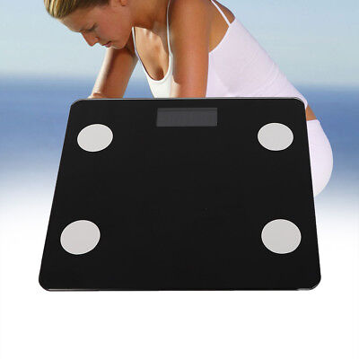 Wireless Bluetooth 4.0Digital Body Fat Scale Bathroom Health Analyser 180KG Blac