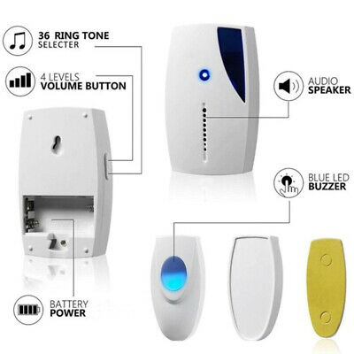 Portable Wireless Digital Door Bell Sound Music Chime Cordless Control HPW