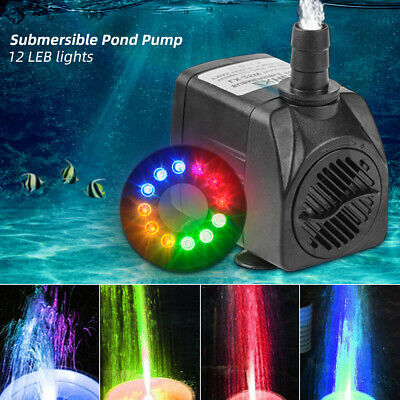 Electric Fountain Submersible Water Pump with 12 LED Lights for Garden Pond Pool