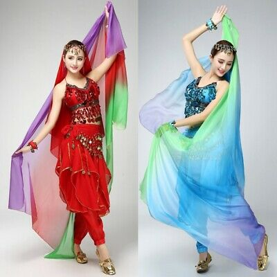 Women Colorful Belly Dance Imitate Silk Veil Shawl Scarf  Shawl Gauze Costume AU