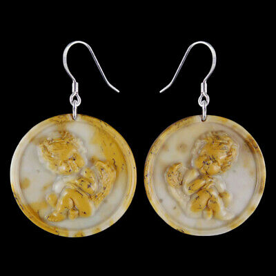 Carved Angel Silver Earring EJ900442