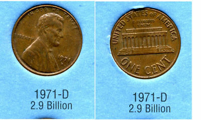 1971 D ABE Lincoln Memorial AMERICAN PENNY 1 CENT US U.S AMERICA ONE COIN #B2
