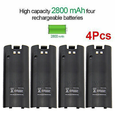 4pcs 2800mAh Rechargeable Battery Pack For Nintendo Wii Remote Controller