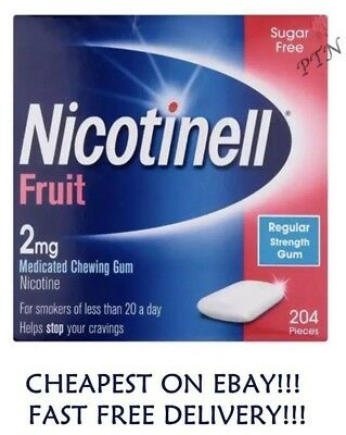 Nicotinell Fruit Gum 2mg of 204 pieces Money Saving  packs  1 2 3 4 8 12  (2020)