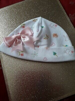 Romany Baby Girl Pink Cute Bunny / Mouse Big  Satin Bow  Hat 0 -3 Month