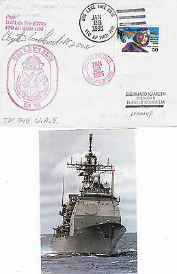 Uss Lake Erie Cg 70 Cruiser A Captain Signed Ships Cached Cover & Sm Mag Pic