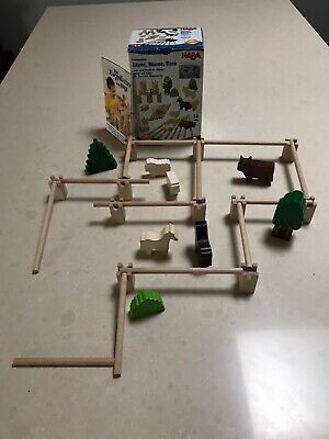 Wooden farm toy set including fences, trees and animals