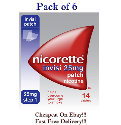 6 Packs of Nicorette Step 1 Invisi 25mg  Nicotine 14 Patches Expiry - 08/2021