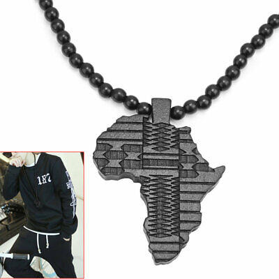 Black Beads Link Chain Wooden Africa Map Pendant Necklace Jewelry For Men WNG