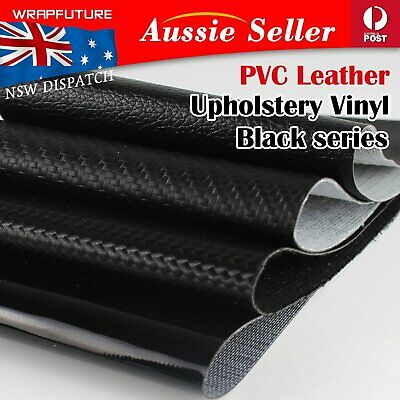 Faux Synthetic Leather Fabric Upholstery Vinyl Decoration Craft All Black Colors