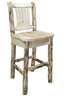 Terrific Log Bar Stool With Back Laser Engraving Western Art Solid Caraccident5 Cool Chair Designs And Ideas Caraccident5Info