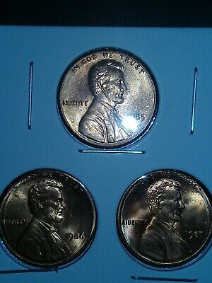 1985-86-87 3pack copper, Lincoln, memorial back coin, penny, cent