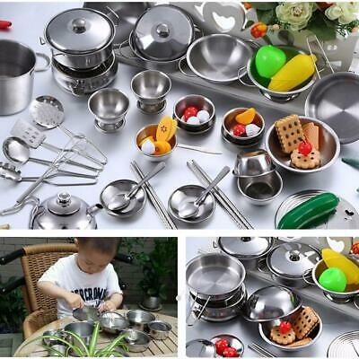 25PCS Pretend Kitchen Play Set for Kids Stainless Steel Cooking Bake Food Toys