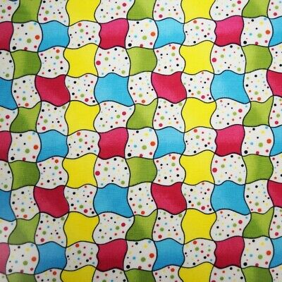 SALE 100% Cotton Poplin Fabric Belleboo Wavey Squares Polka Dot Check