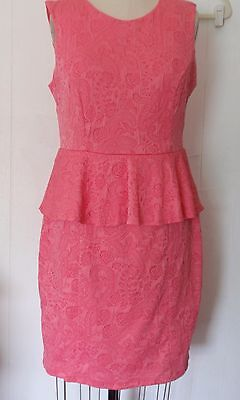 New H&M Coral Textured Brocade Bodycon Peplum Stretch Knit Polyester Dress L