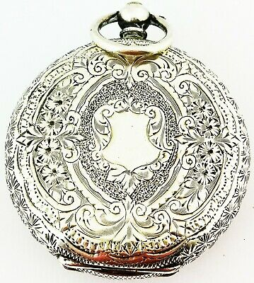 Beautiful Antique Hallmarked Solid Sterling Silver Pocket Watch - Working