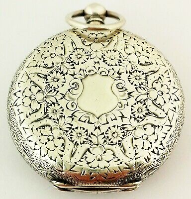 Beautiful Antique Hallmarked Solid Sterling Silver Pocket Watch  Working