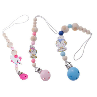 3x Wood Baby Pacifier Clips Infant Pacifier Chain Toddler Teether Toys Gift