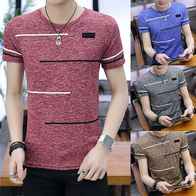Fashion Men's Slim Fit Short Sleeve T Shirt Tops Casual Striped Summer Top Tee
