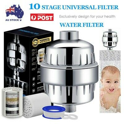 1Set Stage Shower Head Water Filter Softener Removes Chlorine with 2Cartridge PA