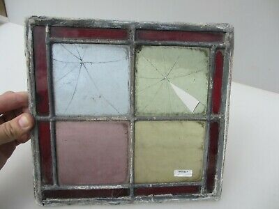 """Antique Stained Glass Window Panel Old Antique Leaded Victorian Vintage 10"""""""