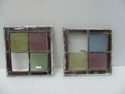 Antique Stained Glass Window Panel Old Antique Leaded Victorian Vintage x2 - 10""