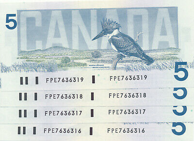Bank Of Canada Lot Of 4 In A Row 5 Dollars 1986 Bc56B Fpe - Unc
