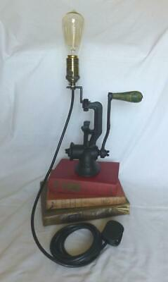 Vintage Retro Upcycled Table / Desk Lamp Cast Iron Food Mincer Steampunk Mancave