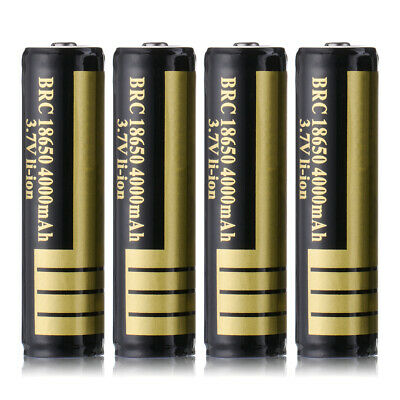 2x/4x BRC Protected 18650 Rechargeable L-Ion Battery 3.7V 4000mAh for Flashlight
