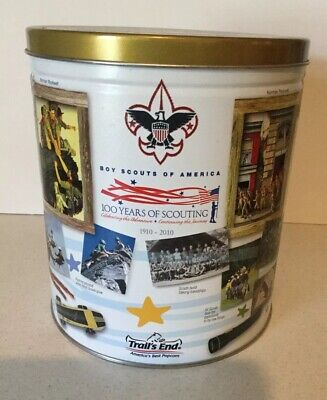 Boy Scouts Of America 100 YEARS OF SCOUTING 1910-2010 Trails End Popcorn Tin