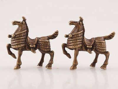2  Rare Bronze Hand Carving Horse Animal Statue Figurine Solid Old