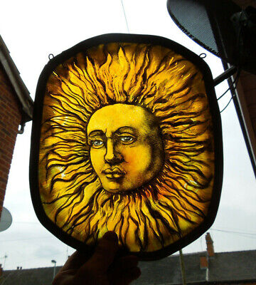 Stained Glass Fragment Sun Solar Magic Witchcraft Medieval Victorian