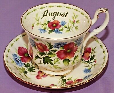 Royal Albert POPPY English Teacup & Saucer Duo August Flower Of The Month Series