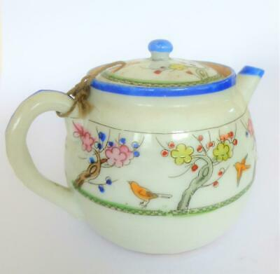 Small Old Hand Painted Porcelain Oriental Chinese Japanese Tea Pot Birds Prunus