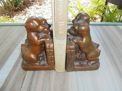 Vintage Antique Brass Puppies Dogs Bronze Bookends Pair of Two