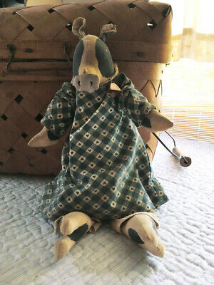 Primitive Folk Art Cow Doll - Hand Made, Hand Painted Cloth Doll