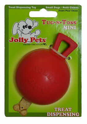 Jolly Pets Tug N Toss Rubber Treat Dispensing Interactive Toy Mini Red 3 inch